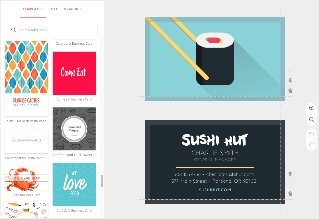 Create Restaurant Business Cards