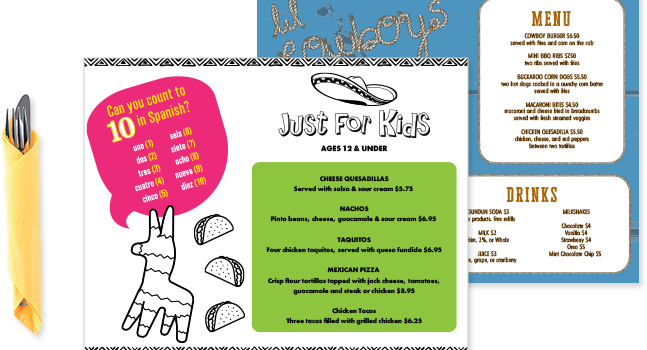 Kids Menu Sizes