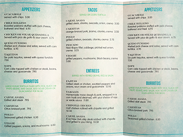 Takeout Menu Sizes